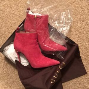 Hot pink suede Gucci booties